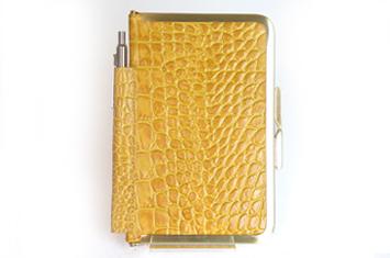 革職人  Sachiの手作り,がま口を使った手帳ケース,マスタード×ゴールド