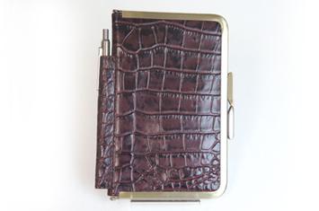 革職人  Sachiの手作り,がま口を使った手帳ケース,チョコ×アンティーク