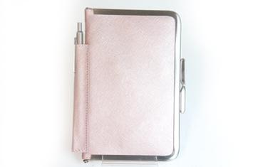 革職人  Sachiの手作り,がま口を使った手帳ケース,メタリックピンク×ニッケル