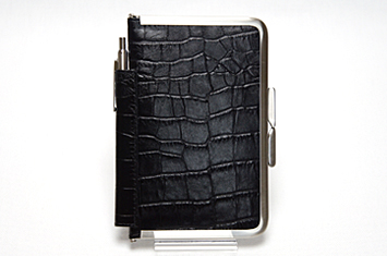 革職人Sachiの手作り,がま口を使った手帳ケース,ブラック,黒